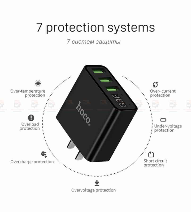 ที่ชาร์จแบต HOCO 5V 3A 3 Ports USB Fast Charging Charger LED display Adapter For iPhone Samsung-13