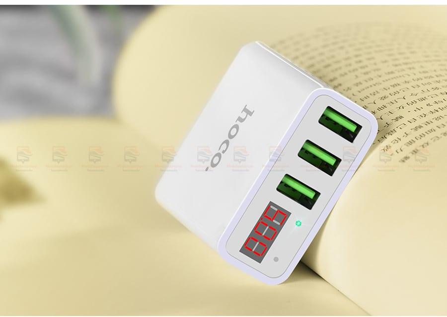 ที่ชาร์จแบต HOCO 5V 3A 3 Ports USB Fast Charging Charger LED display Adapter For iPhone Samsung-16