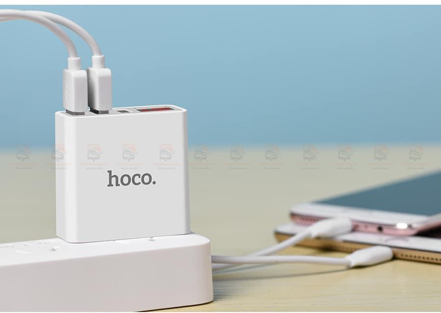 ที่ชาร์จแบต HOCO 5V 3A 3 Ports USB Fast Charging Charger LED display Adapter For iPhone Samsung-17