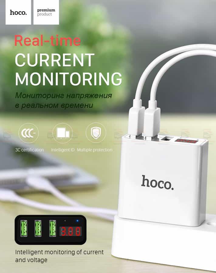 ที่ชาร์จแบต HOCO 5V 3A 3 Ports USB Fast Charging Charger LED display Adapter For iPhone Samsung-4