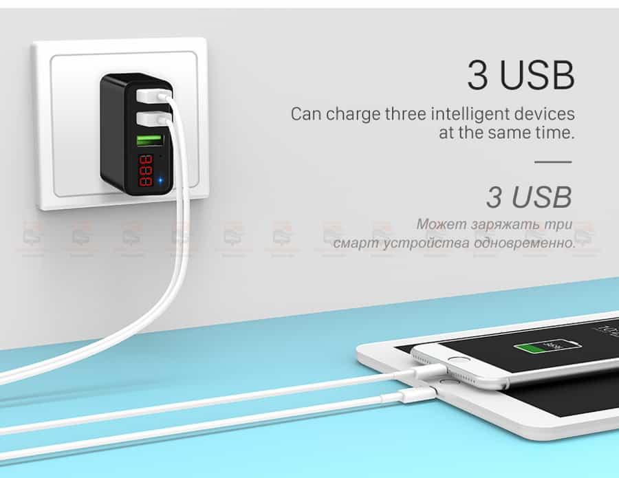 ที่ชาร์จแบต HOCO 5V 3A 3 Ports USB Fast Charging Charger LED display Adapter For iPhone Samsung-5