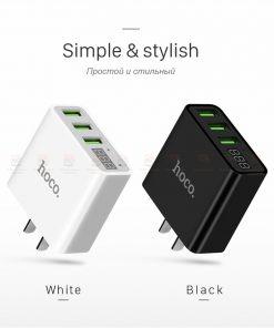 ที่ชาร์จแบต HOCO C15 5V 3A 3 Ports USB Fast Charging Charger LED display Adapter For iPhone Samsung-6