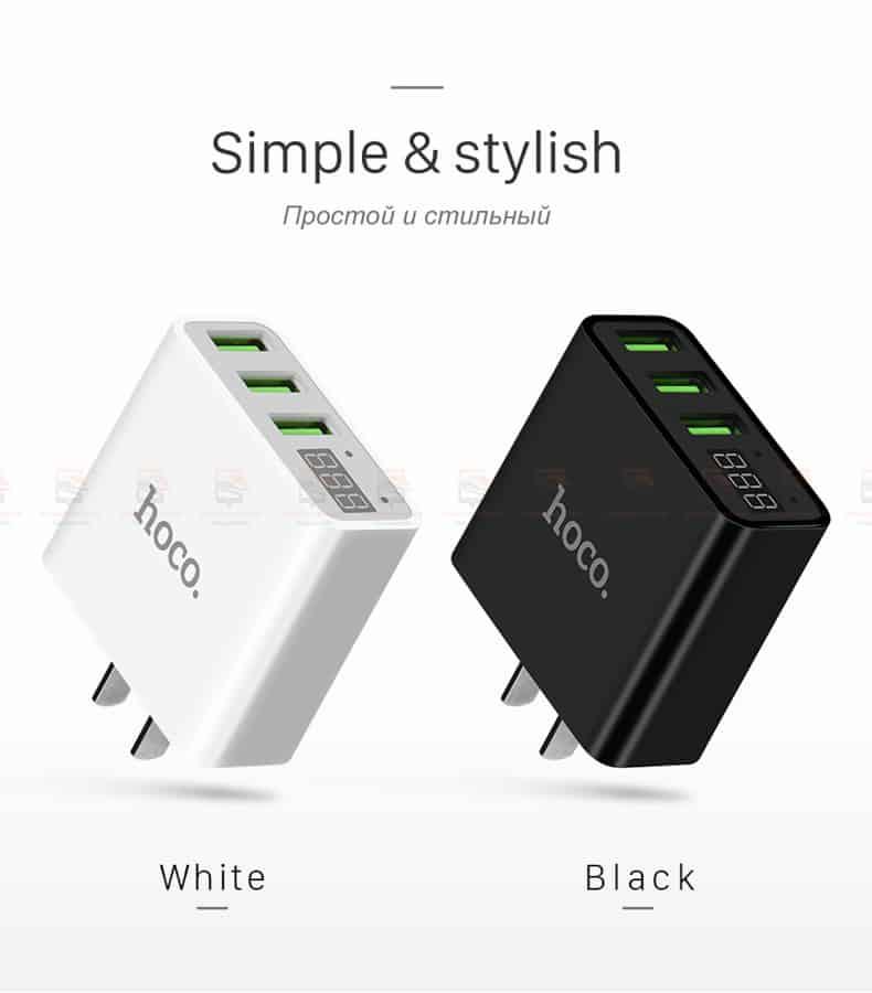 ที่ชาร์จแบต HOCO 5V 3A 3 Ports USB Fast Charging Charger LED display Adapter For iPhone Samsung-6