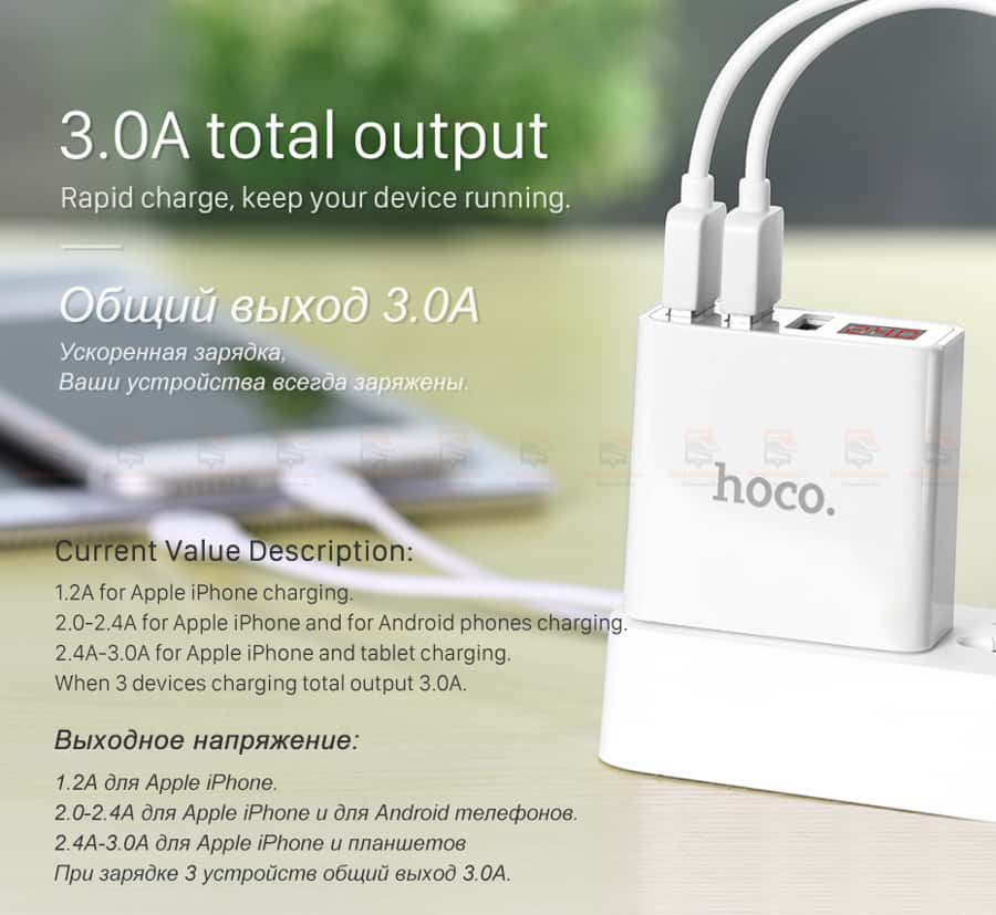 ที่ชาร์จแบต HOCO 5V 3A 3 Ports USB Fast Charging Charger LED display Adapter For iPhone Samsung-8
