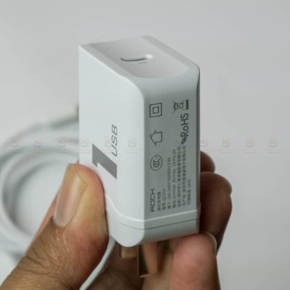 ที่ชาร์จแบต ROCK PD Fast Charger Set for iPhone X 8 Plus With Type C to Lighting Cable สินค้าจริง-11