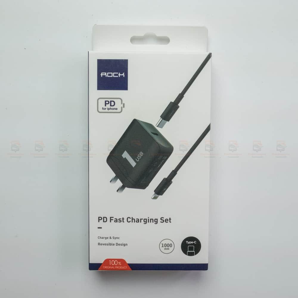 ที่ชาร์จแบต ROCK PD Fast Charger Set for iPhone X 8 Plus With Type C to Lighting Cable สินค้าจริง-3