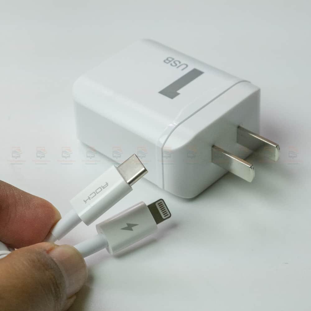 ที่ชาร์จแบต ROCK PD Fast Charger Set for iPhone X 8 Plus With Type C to Lighting Cable สินค้าจริง-7