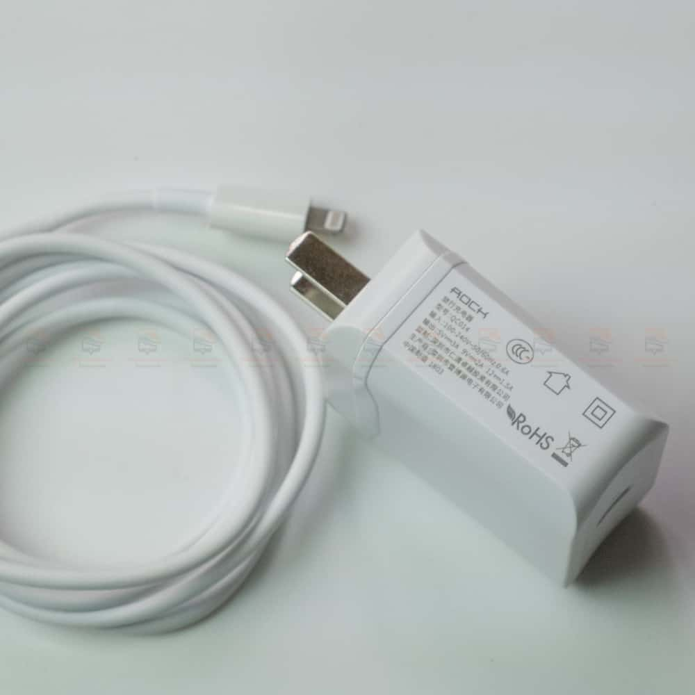 ที่ชาร์จแบต ROCK PD Fast Charger Set for iPhone X 8 Plus With Type C to Lighting Cable สินค้าจริง-9