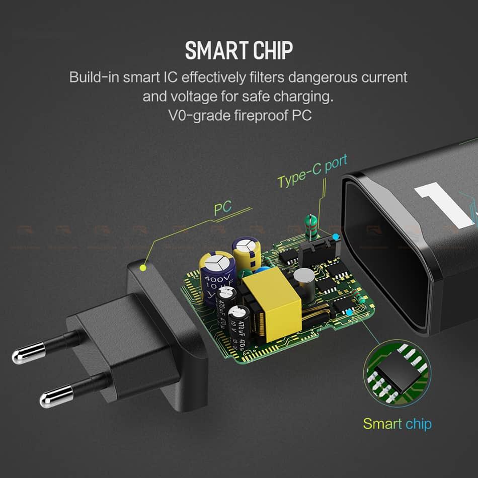 ที่ชาร์จแบต ROCK PD Fast Charger Set for iPhone X 8 Plus With Type C to Lighting Cable-10