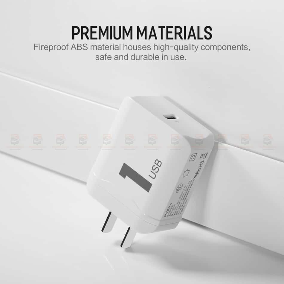 ที่ชาร์จแบต ROCK PD Fast Charger Set for iPhone X 8 Plus With Type C to Lighting Cable-11