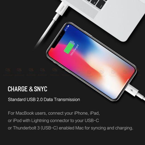 ที่ชาร์จแบต ROCK PD Fast Charger Set for iPhone X 8 Plus With Type C to Lighting Cable-12