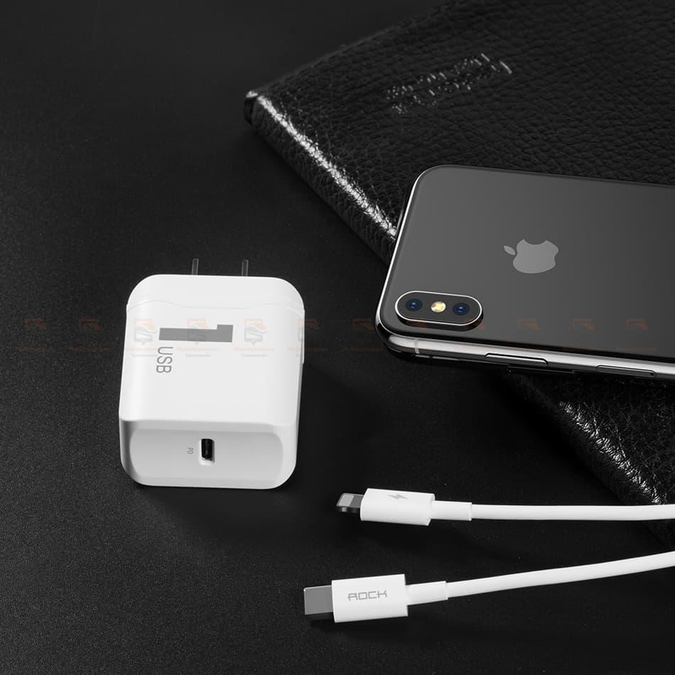 ที่ชาร์จแบต ROCK PD Fast Charger Set for iPhone X 8 Plus With Type C to Lighting Cable-19