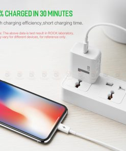 ที่ชาร์จแบต ROCK PD Fast Charger Set for iPhone X 8 Plus With Type C to Lighting Cable-2