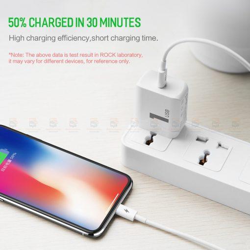 ที่ชาร์จแบต ROCK PD Fast Charger Set for iPhone X 8 Plus With Type C to Lighting Cable-2