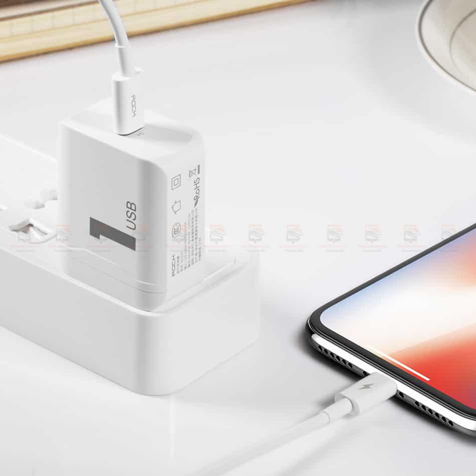 ที่ชาร์จแบต ROCK PD Fast Charger Set for iPhone X 8 Plus With Type C to Lighting Cable-20