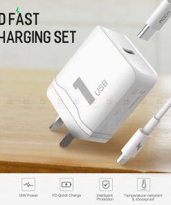 ที่ชาร์จแบต ROCK PD Fast Charger Set for iPhone X 8 Plus With Type C to Lighting Cable
