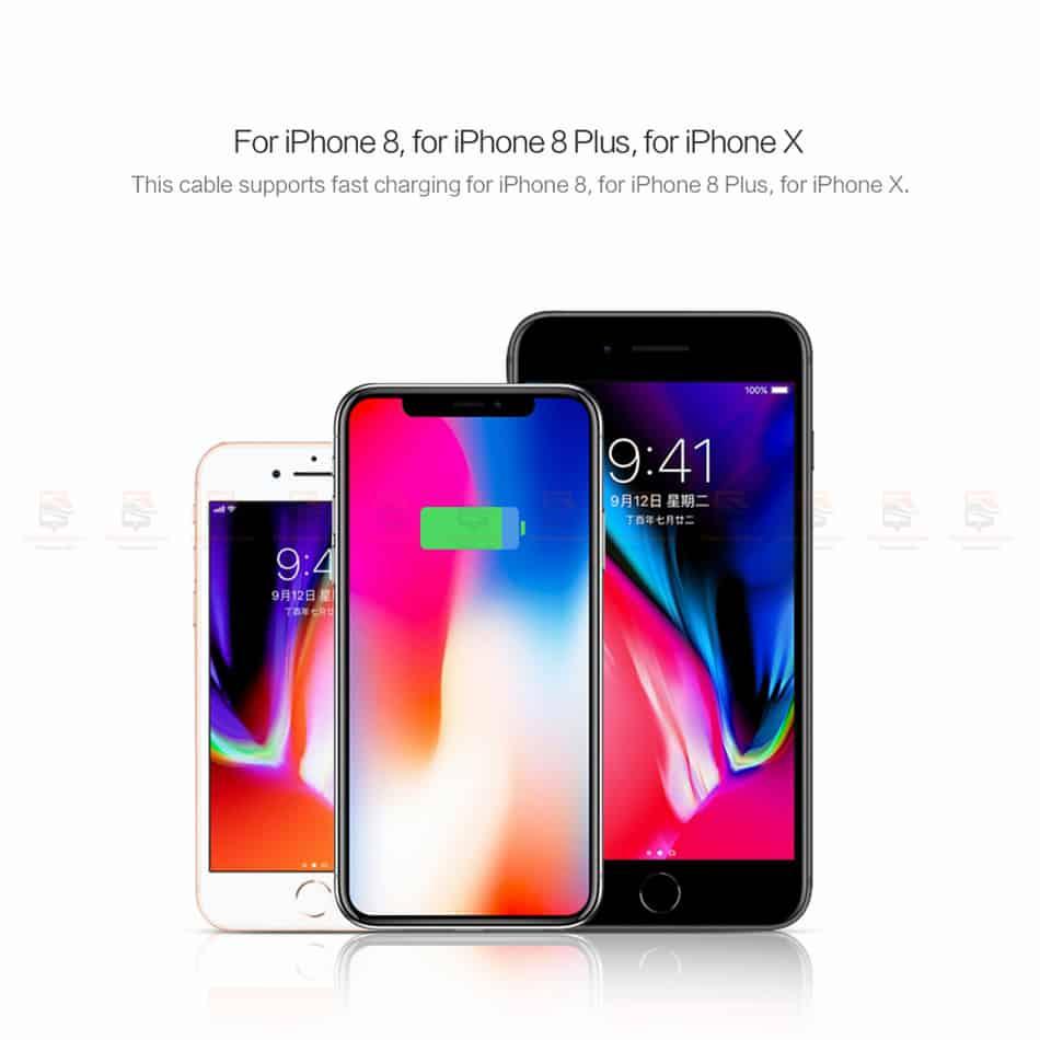ที่ชาร์จแบต ROCK PD Fast Charger Set for iPhone X 8 Plus With Type C to Lighting Cable-5