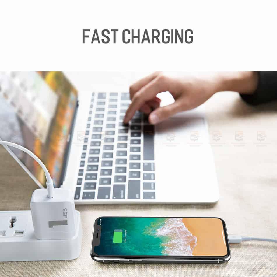 ที่ชาร์จแบต ROCK PD Fast Charger Set for iPhone X 8 Plus With Type C to Lighting Cable-7