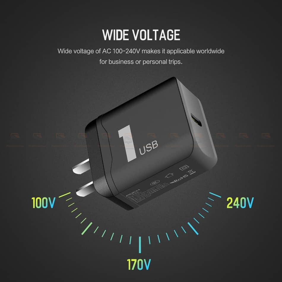 ที่ชาร์จแบต ROCK PD Fast Charger Set for iPhone X 8 Plus With Type C to Lighting Cable-8