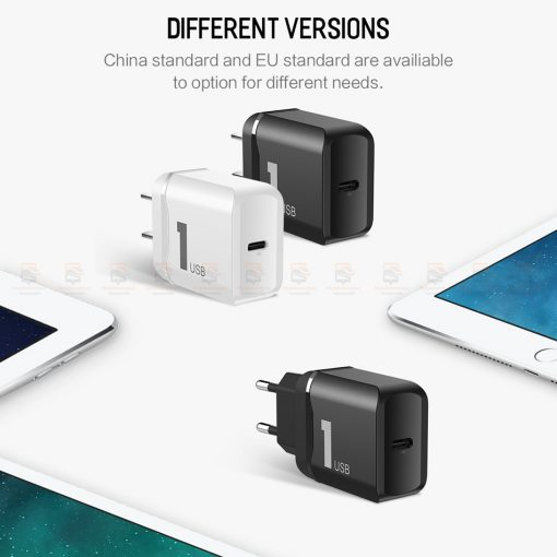ที่ชาร์จแบต ROCK PD Fast Charger Set for iPhone X 8 Plus With Type C to Lighting Cable-9
