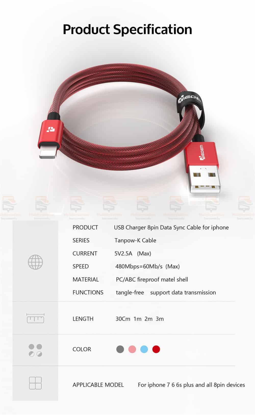 สายชาร์จไอโฟน TIEGEM Tanpow-K series Alloy Aluminum Nylon Fast Charging For iPhone X 8 7 6_12