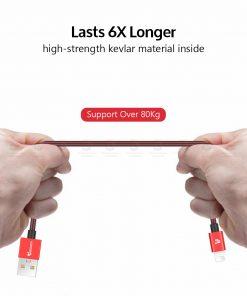 สายชาร์จไอโฟน TIEGEM Tanpow-K series Alloy Aluminum Nylon Fast Charging For iPhone X 8 7 6_3