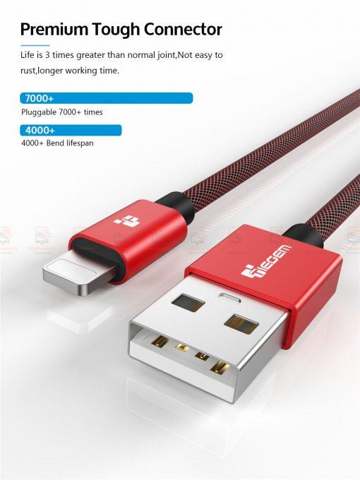 สายชาร์จไอโฟน TIEGEM Tanpow-K series Alloy Aluminum Nylon Fast Charging For iPhone X 8 7 6_8