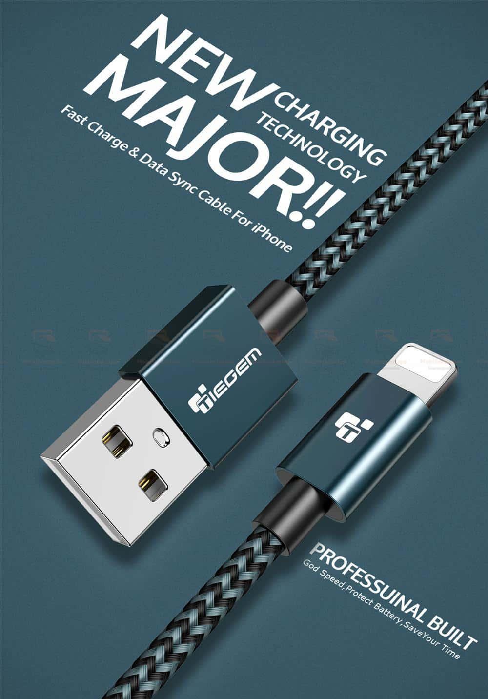 สายชาร์จไอโฟน Tiegem Tanpow Series USB Charger Cable for iPhone X-7-8-6-5 Cable Fast Charger 1