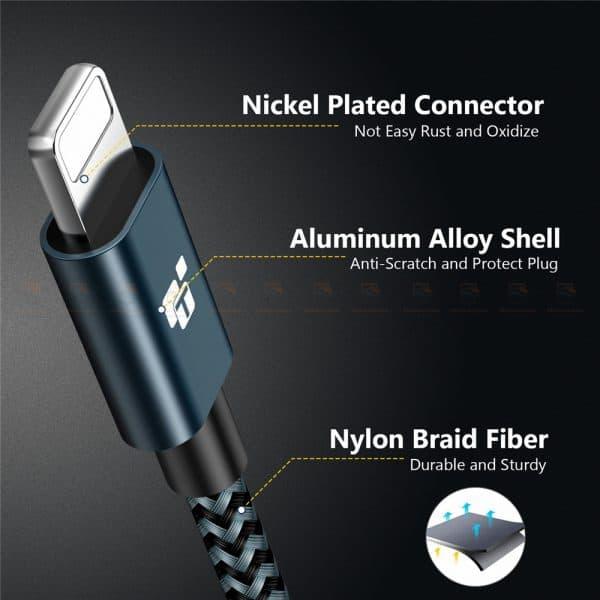 สายชาร์จไอโฟน Tiegem Tanpow Series USB Charger Cable for iPhone X-7-8-6-5 Cable Fast Charger 10