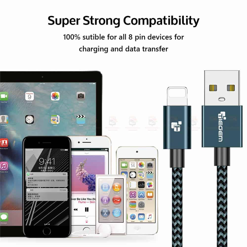 สายชาร์จไอโฟน Tiegem Tanpow Series USB Charger Cable for iPhone X-7-8-6-5 Cable Fast Charger 13