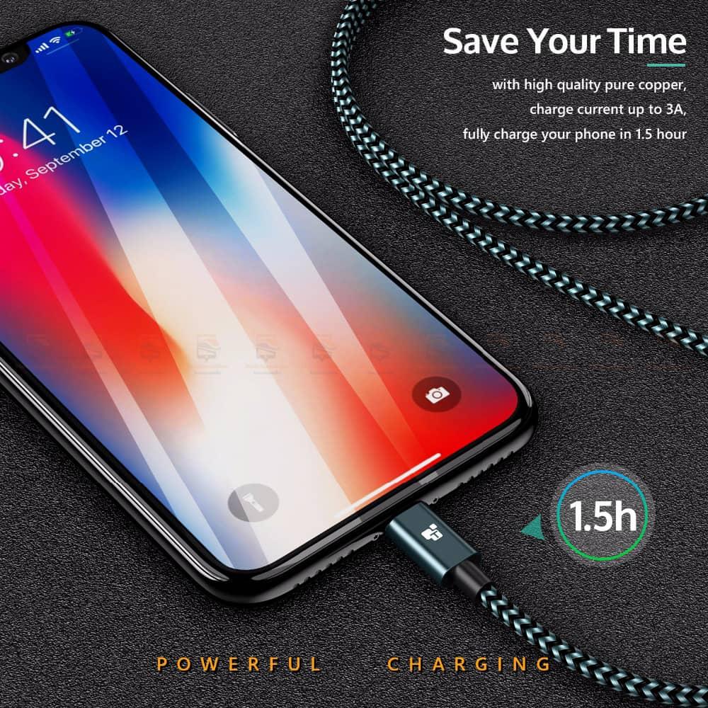 สายชาร์จไอโฟน Tiegem Tanpow Series USB Charger Cable for iPhone X-7-8-6-5 Cable Fast Charger 4