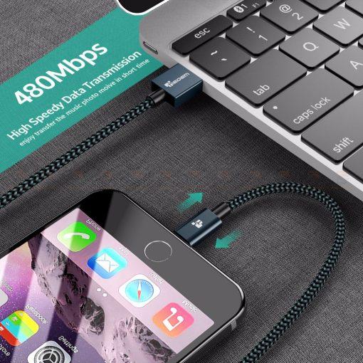 สายชาร์จไอโฟน Tiegem Tanpow Series USB Charger Cable for iPhone X-7-8-6-5 Cable Fast Charger 5