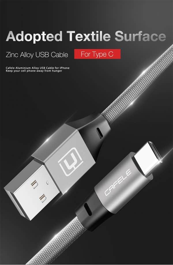 สายชาร์จ Type C Cafele USB Cable Fast Charging Data Cable for Samsung Galaxy S8S8+,HTC,LG,Huawei,Sony,New Macbook,GoPro5 30Cm-1