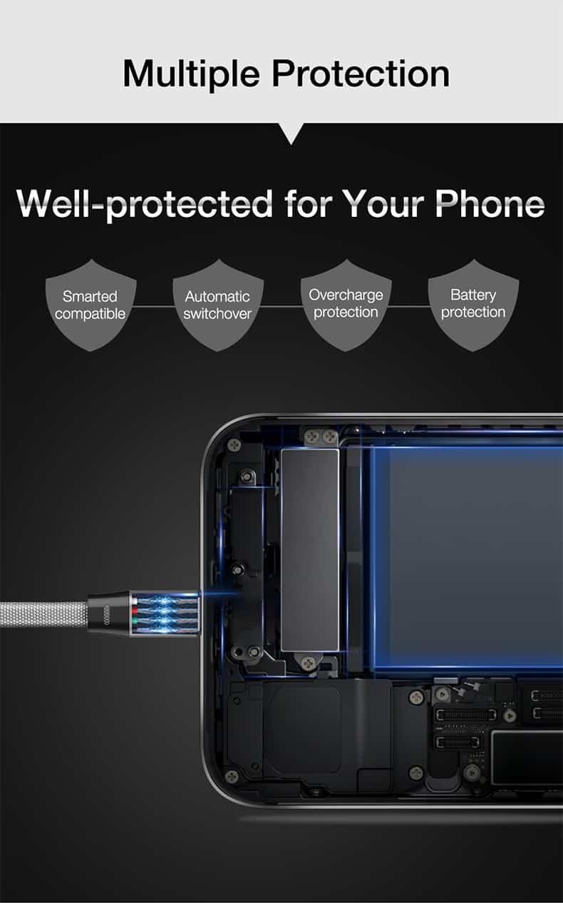 สายชาร์จ Type C Cafele USB Cable Fast Charging Data Cable for Samsung Galaxy S8S8+,HTC,LG,Huawei,Sony,New Macbook,GoPro5 30Cm-3