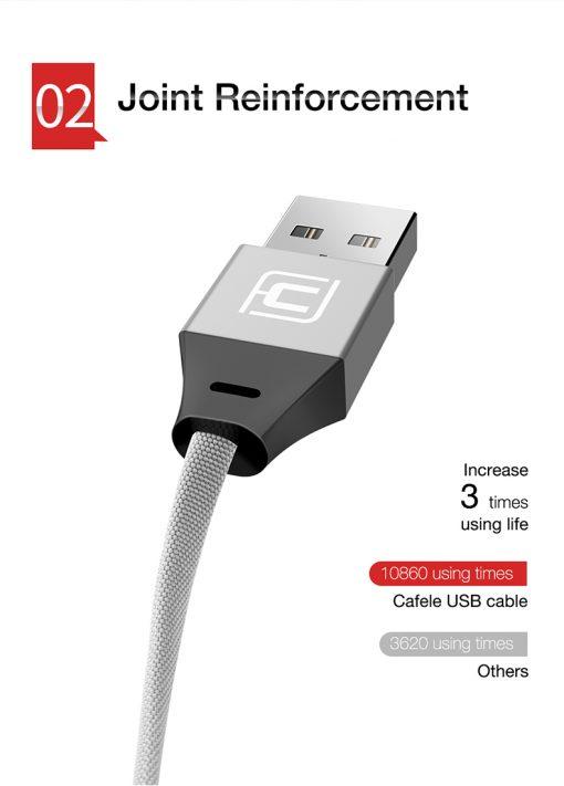 สายชาร์จ Type C Cafele USB Cable Fast Charging Data Cable for Samsung Galaxy S8S8+,HTC,LG,Huawei,Sony,New Macbook,GoPro5 30Cm-5