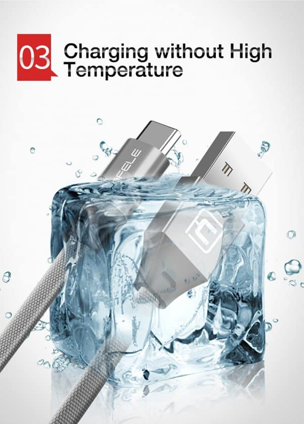 สายชาร์จ Type C Cafele USB Cable Fast Charging Data Cable for Samsung Galaxy S8S8+,HTC,LG,Huawei,Sony,New Macbook,GoPro5 30Cm-6