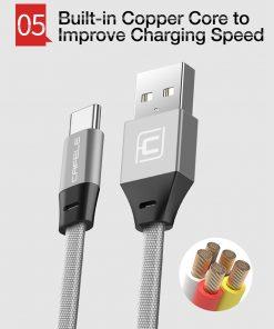 สายชาร์จ Type C Cafele USB Cable Fast Charging Data Cable for Samsung Galaxy S8S8+,HTC,LG,Huawei,Sony,New Macbook,GoPro5 30Cm-8
