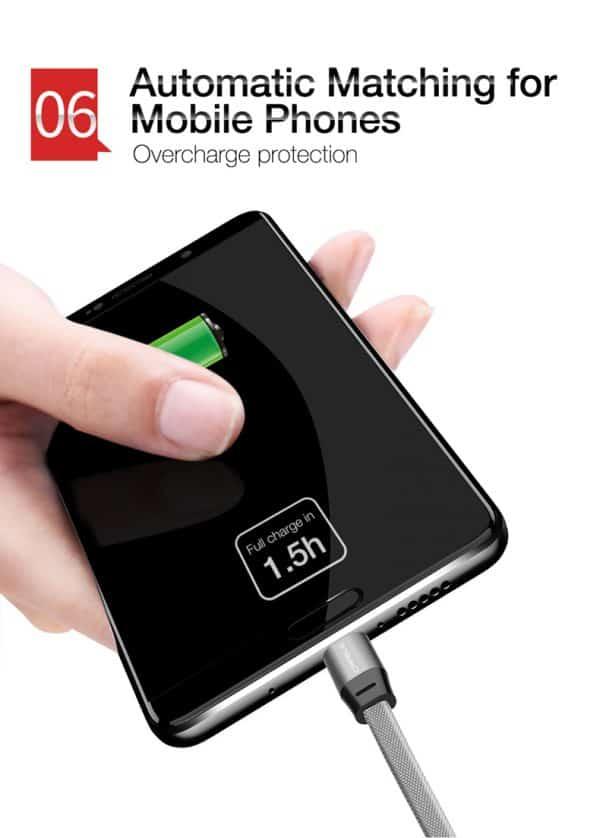 สายชาร์จ Type C Cafele USB Cable Fast Charging Data Cable for Samsung Galaxy S8S8+,HTC,LG,Huawei,Sony,New Macbook,GoPro5 30Cm-9