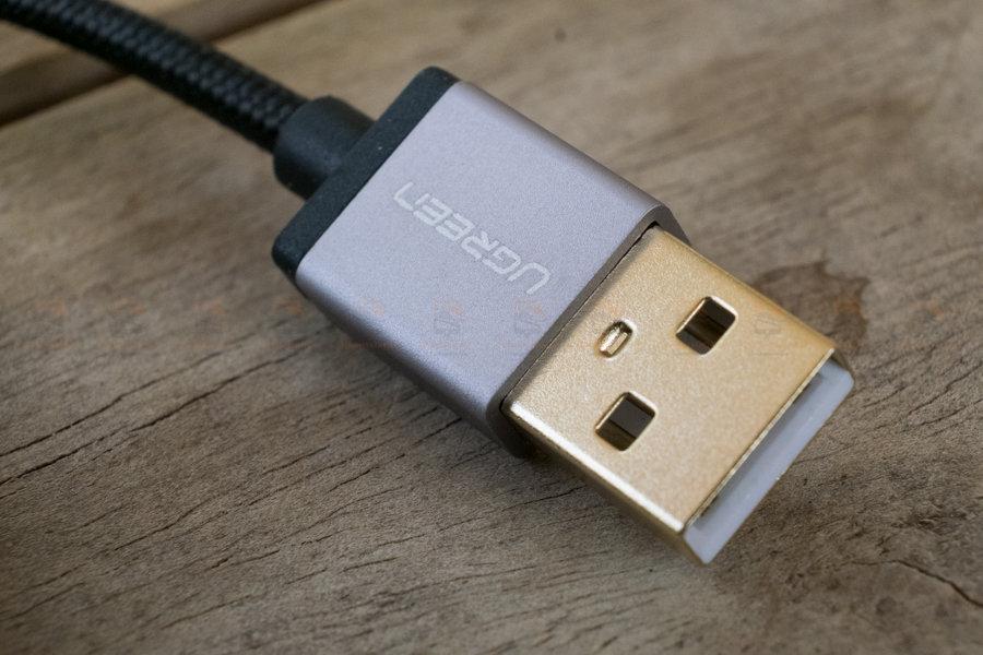 สายชาร์จ Type C Ugreen Nylon USB Cable Fast Charging Data Cable for Samsung Galaxy S8-S8+, HTC, LG, Nintendo Switch, New Macbook, GoPro5 1 เมตรรูปสินค้าจริง-4