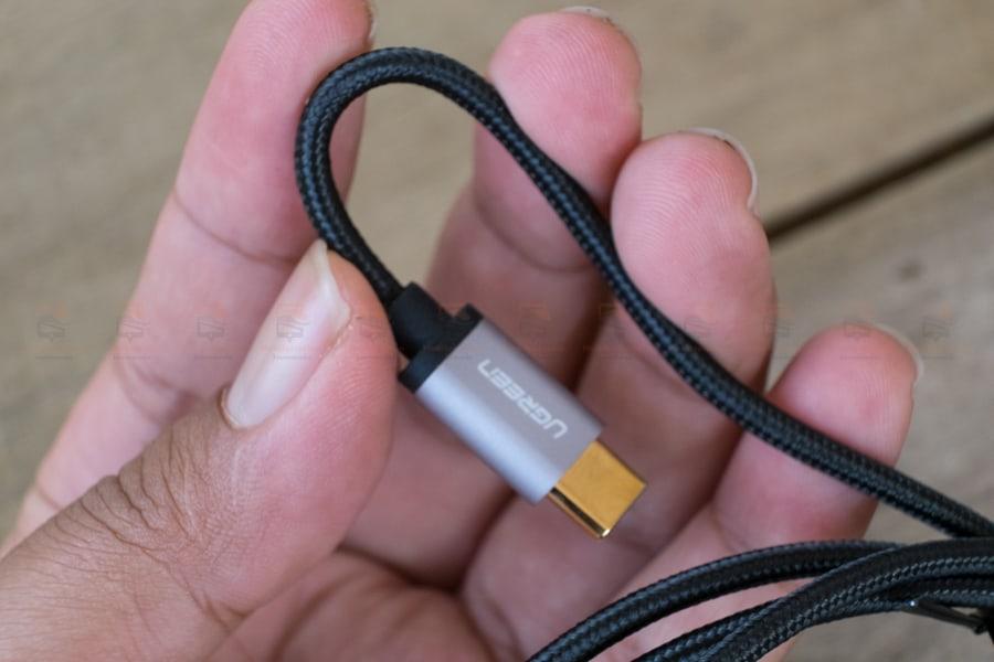 สายชาร์จ Type C Ugreen Nylon USB Cable Fast Charging Data Cable for Samsung Galaxy S8-S8+, HTC, LG, Nintendo Switch, New Macbook, GoPro5 1 เมตรรูปสินค้าจริง-6
