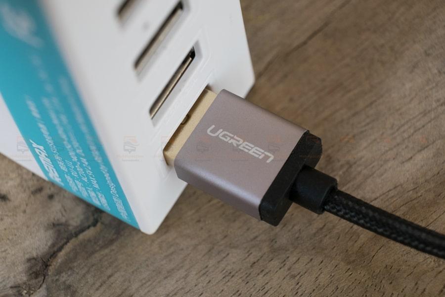 สายชาร์จ Type C Ugreen Nylon USB Cable Fast Charging Data Cable for Samsung Galaxy S8-S8+, HTC, LG, Nintendo Switch, New Macbook, GoPro5 1 เมตรรูปสินค้าจริง-7