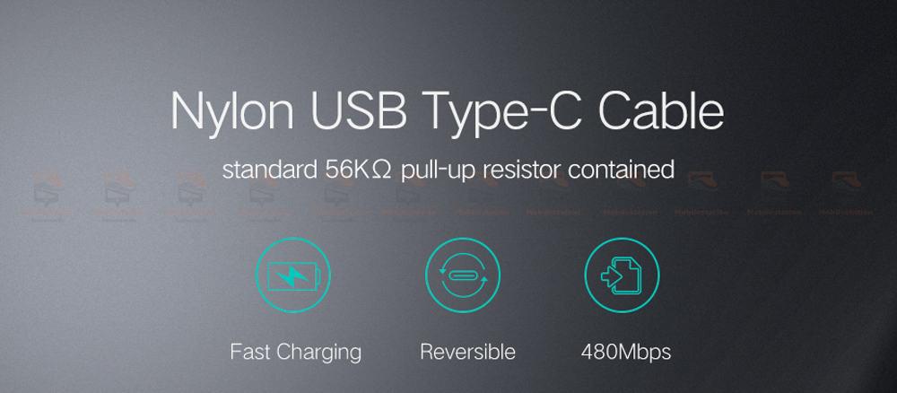 สายชาร์จ Type C Ugreen Nylon USB Cable for Xiaomi Mi5 Type-C Fast Charging Data Cable for Samsung Galaxy S8 Nexus 5X 6P OnePlus 2 USB C-2