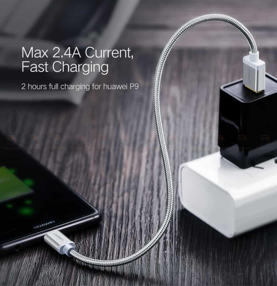 สายชาร์จ Type C Ugreen Nylon USB Cable for Xiaomi Mi5 Type-C Fast Charging Data Cable for Samsung Galaxy S8 Nexus 5X 6P OnePlus 2 USB C-3