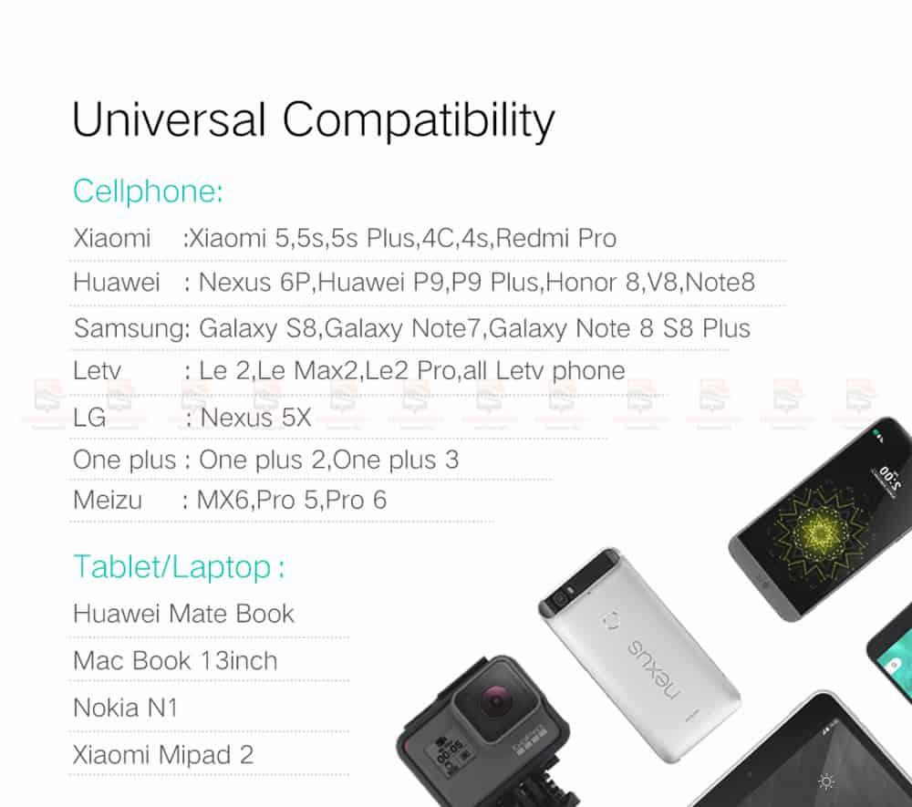 สายชาร์จ Type C Ugreen Nylon USB Cable for Xiaomi Mi5 Type-C Fast Charging Data Cable for Samsung Galaxy S8 Nexus 5X 6P OnePlus 2 USB C-5