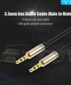 สาย Aux Cable 3.5mm Vention Jack Audio Cable 24k Gold-plated for iPhone Car Headphone Speaker ยาว 1.5 เมตร-1