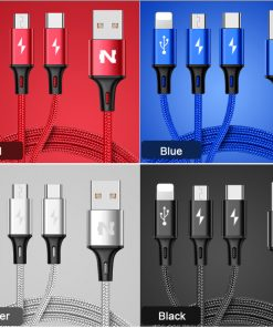 สายชาร์จ หลายหัว สายLightning สายMicro USB สายType C 3 IN 1 Nohon ใช้ได้กับมือถือทุกรุ่น 2