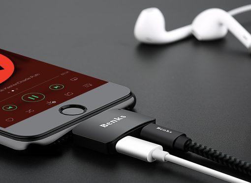 Lightning Adapter แยก 1 เป็น 2 ฟังเพลง พร้อมชาร์จ Benks แท้ For iPhone 7 8 X 10 -2
