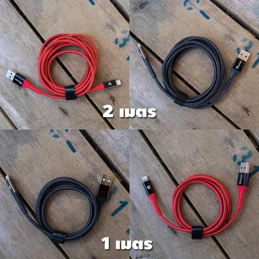 สายชาร์จไอโฟน TIEGEM Nylon Fast Charging Cable For iPhone X 8 7 6 สินค้าจริง-11