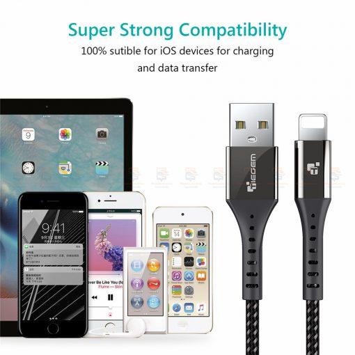 สายชาร์จไอโฟน TIEGEM Nylon Fast Charging Cable For iPhone X 8 7 6_-10