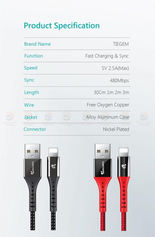 สายชาร์จไอโฟน TIEGEM Nylon Fast Charging Cable For iPhone X 8 7 6_-11